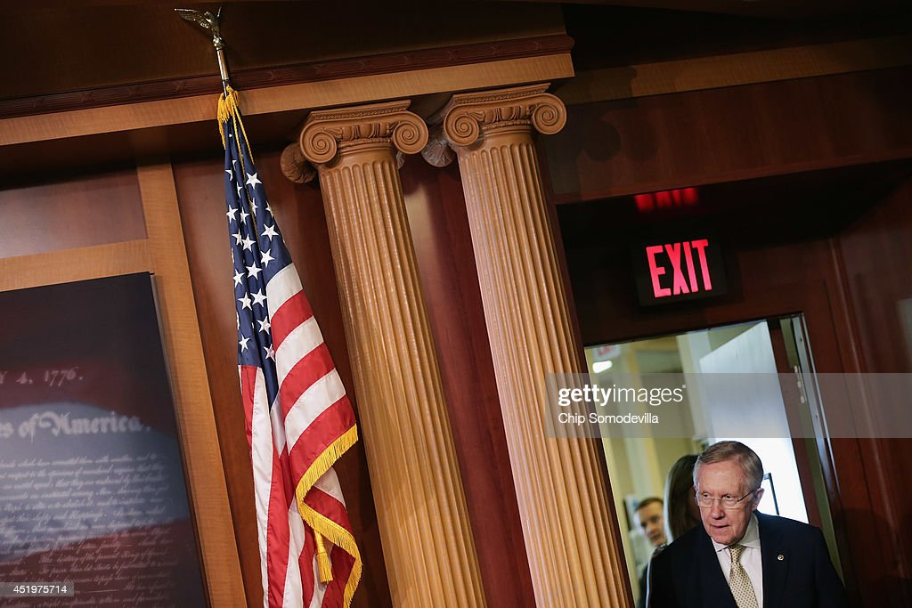 Senate Majority Leader Harry Reid (D-NV) arrives early for a news conference to announce they will fast-track new legislation to prevent for-profit employers from refusing to cover health benefits for religious reasons at the U.S. Capitol July 10, 2014 in Washington, DC. Co-authored by Sen. Mark Udall (D-CO) and Sen. Patty Murray (D-WA), the legislation would override the Supreme Court's recent decision in the Hobby Lobby case and compel for-profit business to cover contraception for their employees, as required by the Affordable Care Act.