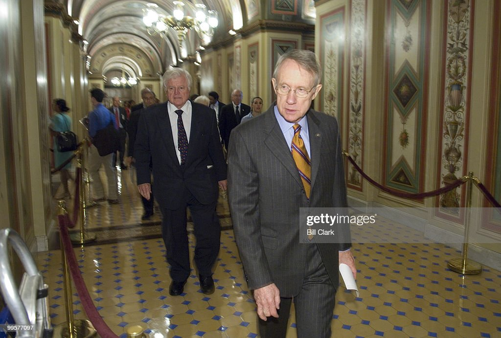 Senate Majority Leader Harry Reid, D-Nev., and Sen. Edward Kennedy, D-Mass., arrive for a news conference in support of the State Children's Health Insurance Program expansion on Wednesday, Sept. 26, 2007.