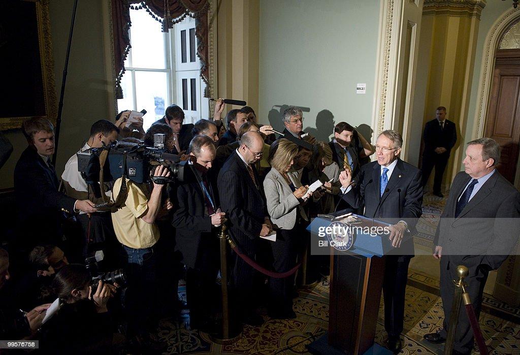 Senate Majority Leader Harry Reid, D-Nev., and Sen. Richard Durbin, D-Ill., hold a news conference following their meeting with Illinois Senator designate Roland Burris on Wednesday, Jan. 7, 2009.
