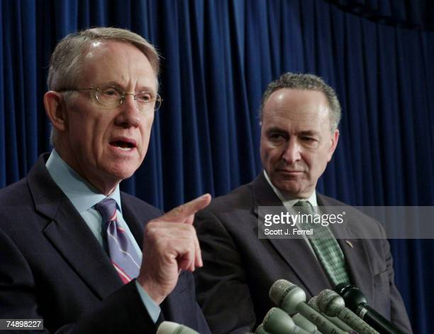 Senate Majority Leader Harry Reid DNev and Senate DSCC Chairman and Caucus Vice Chairman Charles E Schumer NY during a news conference on the Iraq...