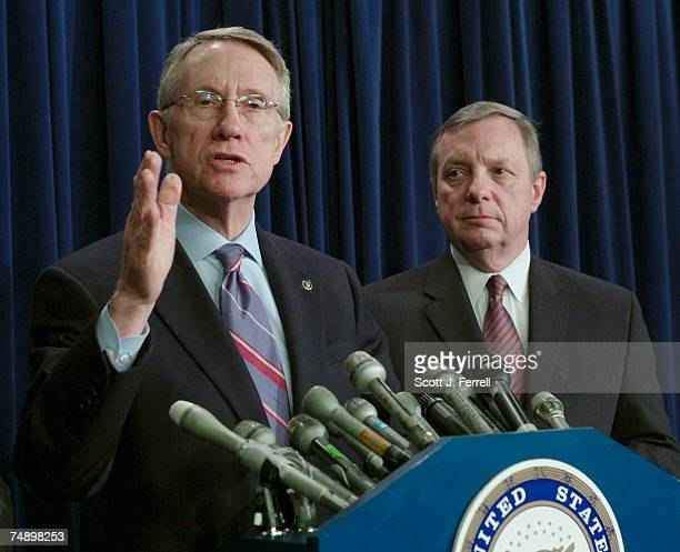 Senate Majority Leader Harry Reid DNev and Senate Majority Whip Richard J Durbin DIll during a news conference on the Iraq resolution Two Republican...