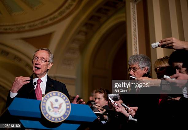 Senate Majority Leader Harry Reid DNev answers questions from reporters in the Ohio Clock Corridor following the Senate Democrats' lunch on Tuesday...