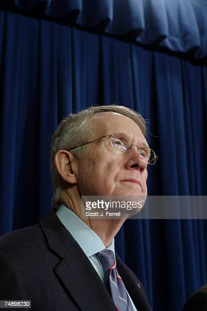 Senate Majority Leader Harry Reid DNev during a news conference on the Iraq resolution Two Republican critics of President Bush's latest Iraq...