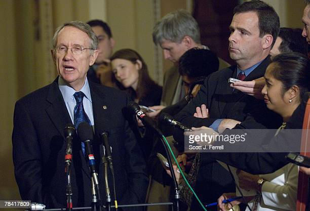Senate Majority Leader Harry Reid DNev during a news conference on the omnibus appropriations bill after the Democratic policy luncheon House...