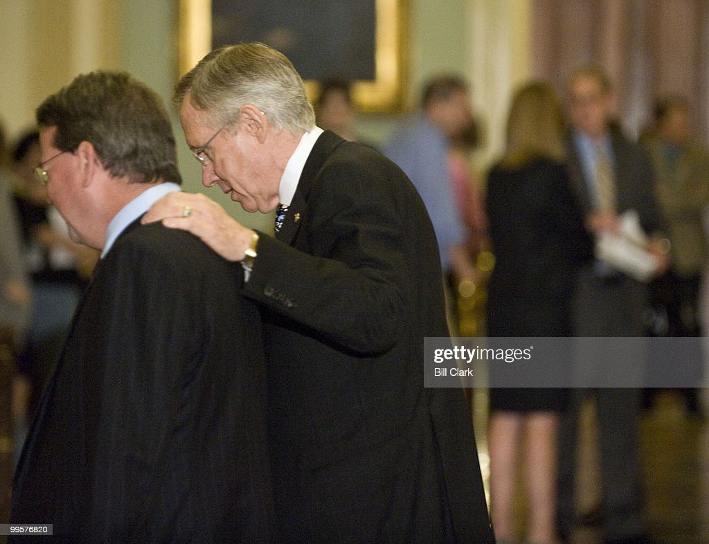 Senate Majority Leader Harry Reid, D-Nev., heads to the Senate Floor following a meeting with HHS Secretary Kathleen Sebelius and other Senators about healthcare reform on Thursday, July 23, 2009.