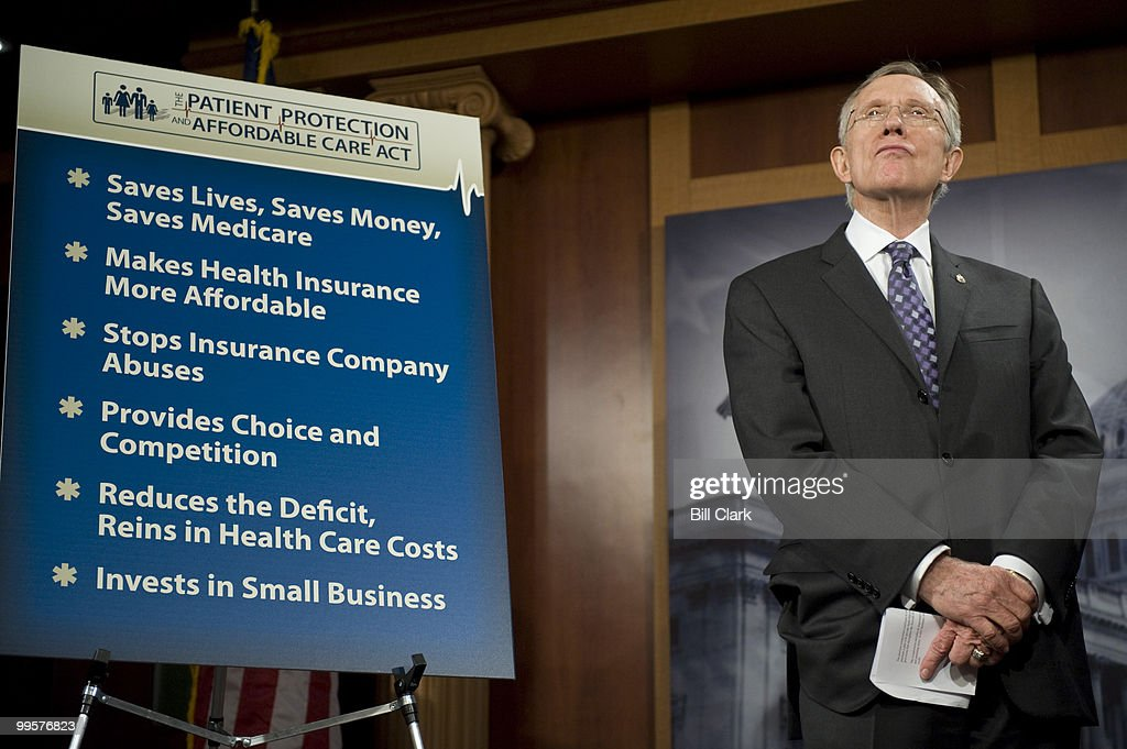 Senate Majority Leader Harry Reid, D-Nev., holds his news conference on the health care reform bill on Saturday, Dec. 19, 2009.
