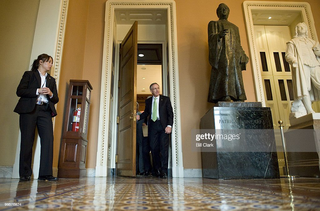 Senate Majority Leader Harry Reid, D-Nev., leaves the Senate Democratic Policy lunch on Tuesday, Oct. 27, 2009.