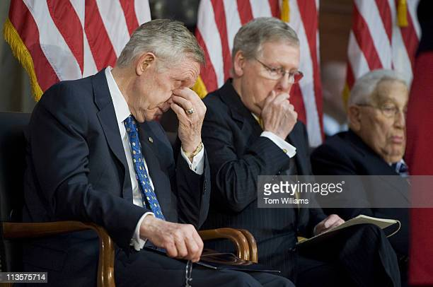 May 3: Senate Majority Leader Harry Reid, D-Nev., left, and Minority Leader Mitch McConnell, R-Ky., attend the statue unveiling ceremony for...