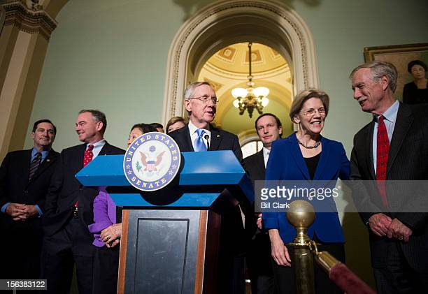 Senate Majority Leader Harry Reid DNev makes brief remarks during a photoop with the incoming freshman class of the Senate Democratic caucus in the...