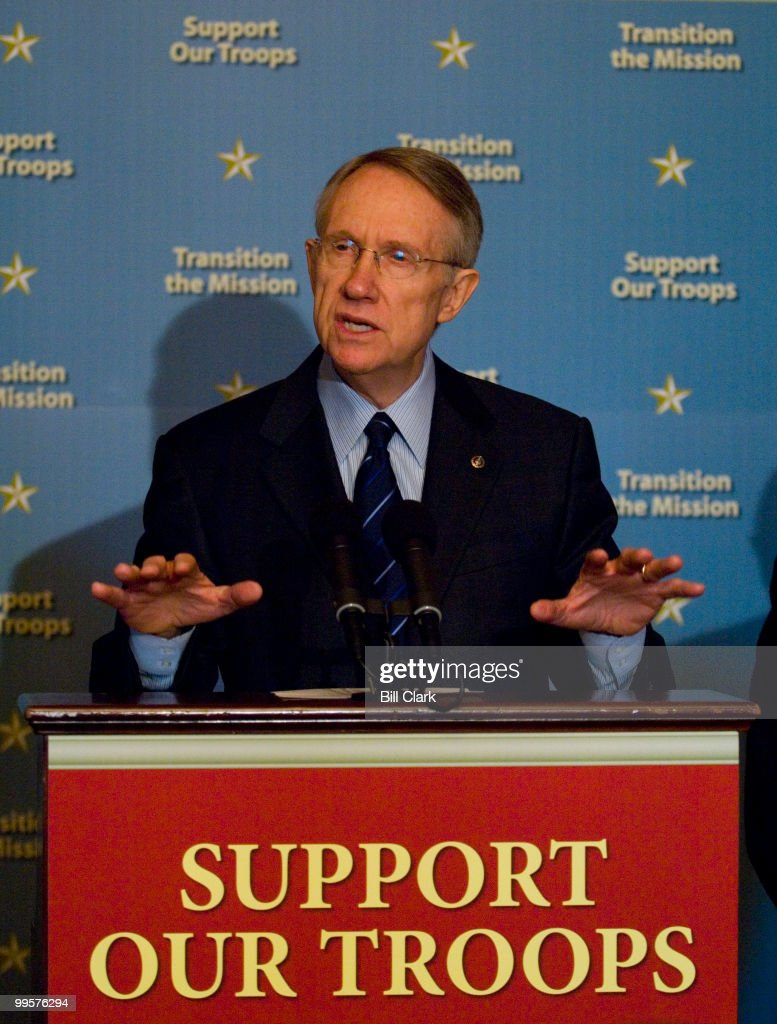 Senate Majority Leader Harry Reid, D-Nev. speaks during a news conference on Iraq in the Capitol on Monday, April 16, 2007.