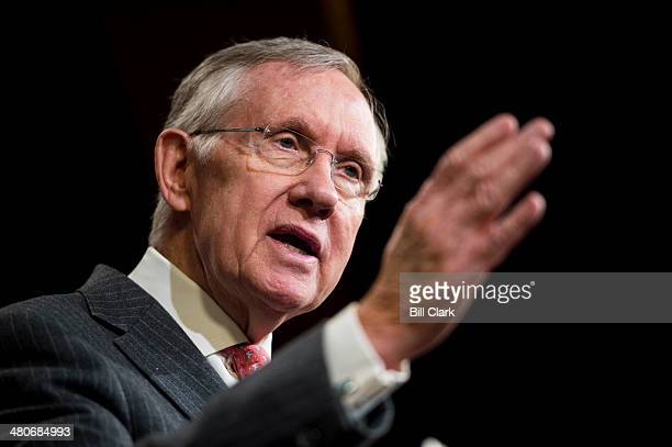 Senate Majority Leader Harry Reid DNev speaks during the Senate Democrats' news conference to unveil A Fair Shot for Everyone agenda on Wednesday...
