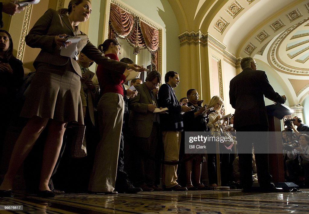Senate Majority Leader Harry Reid, D-Nev., speaks to reporters following the Senate Democratic Policy Committee luncheon in the Capitol on Tuesday, Sept. 23, 2008