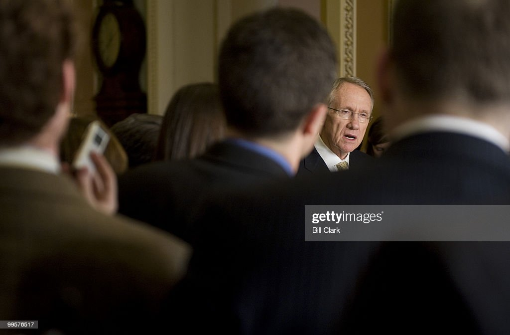 Senate Majority Leader Harry Reid, D-Nev., speaks to reporters in the Ohio Clock Corridor following the Senate Democratic Policy lunch on Tuesday, Feb. 10, 2009.