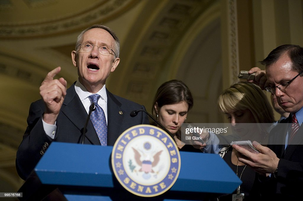 Senate Majority Leader Harry Reid, D-Nev., speaks to reporters in the Ohio Clock Corridor about energy legislation and the indictment of Sen. Ted Stevens on Tuesdau, July 29, 2008.