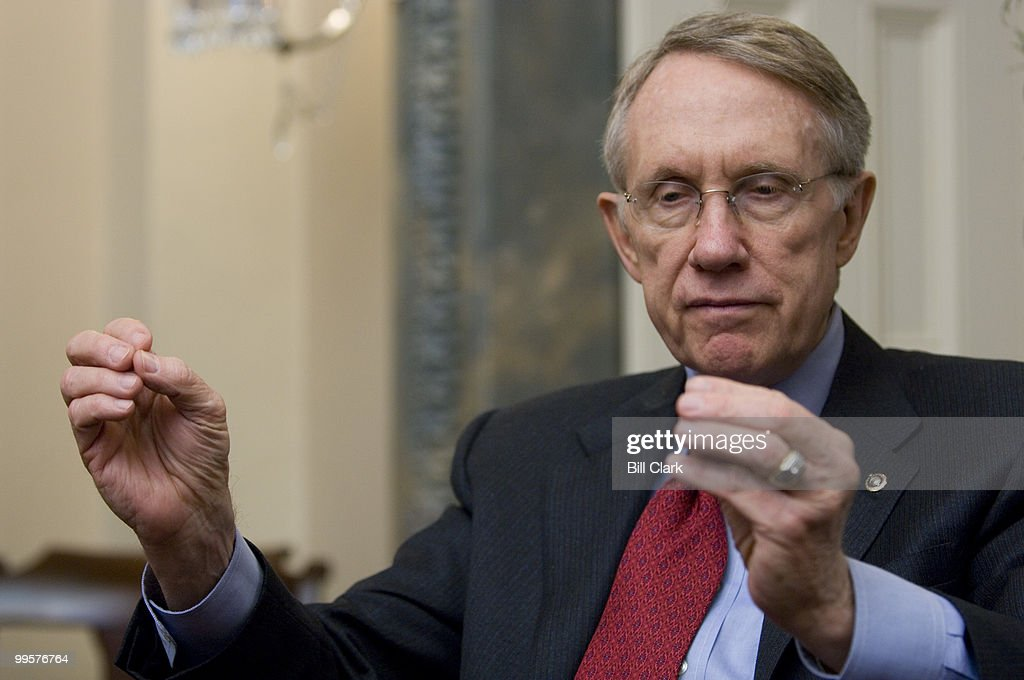 Senate Majority Leader Harry Reid, D-Nev., speaks to Roll Call reporters in his office in the U.S. Capitol on Thursday, Dec. 6, 2007.