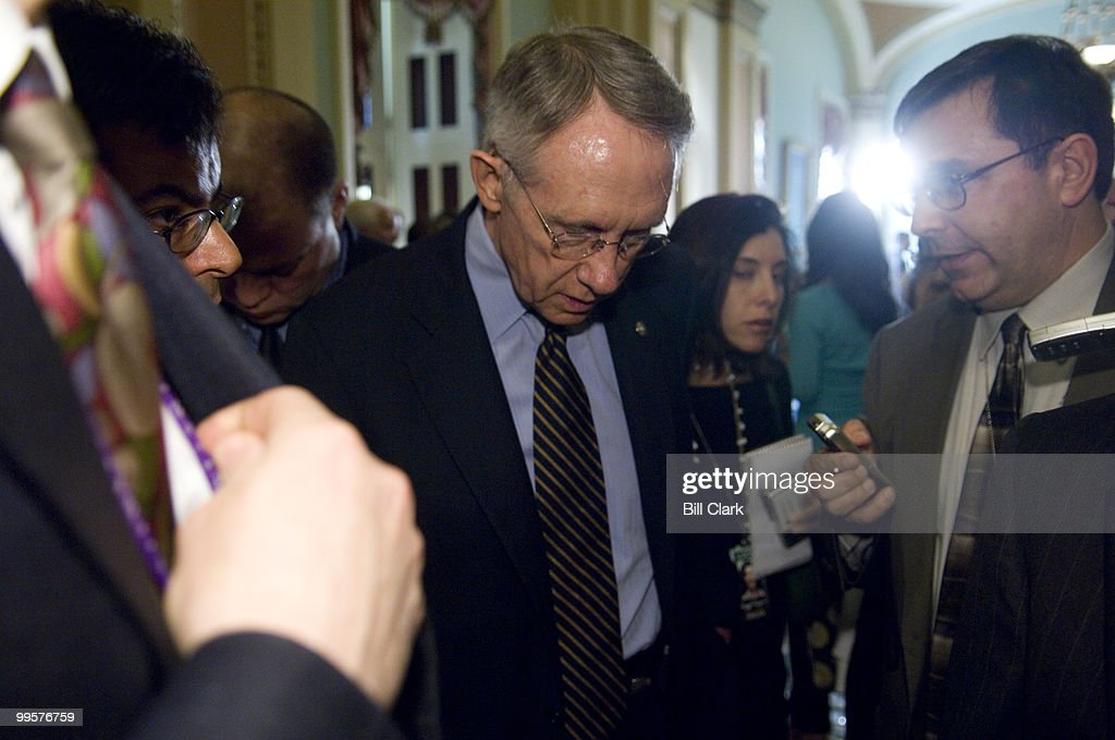 Senate Majority Leader Harry Reid, D-Nev., speaks with reporters in the Ohio Clock Corridor of the U.S. Capitol following the Senate Democratic Policy Committee luncheon on Tuesday, May 15, 2007.
