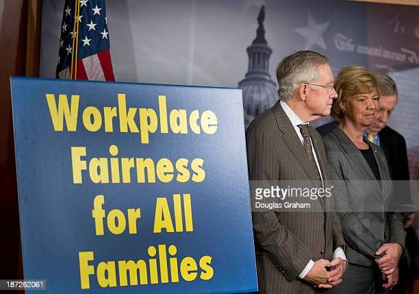 Senate Majority Leader Harry Reid DNV Sen Tammy Baldwin DWI and Sen Richard Durbin DIL during a press conference in the Senate before the vote on the...