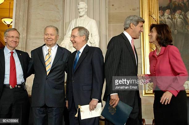 Senate Majority Leader Harry Reid former Senator Edward William Brooke Senate Minority Leader Mitch McConnell Senator John Kerry and Vicki Reggie...