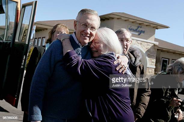 S Senate Majority Leader Harry Reid is hugged by a supporter while visiting the 88 Cups coffee shop April 6 2010 in Minden Nevada Sen Reid continues...