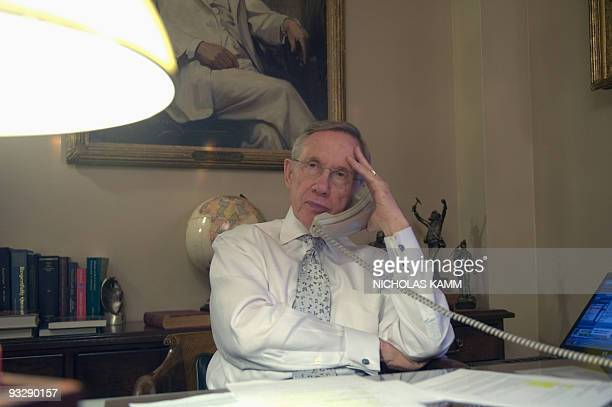 US Senate Majority Leader Harry Reid of Nevada speaks to senators who will appear on the Sunday morning talk shows in his Senate office in Washington...