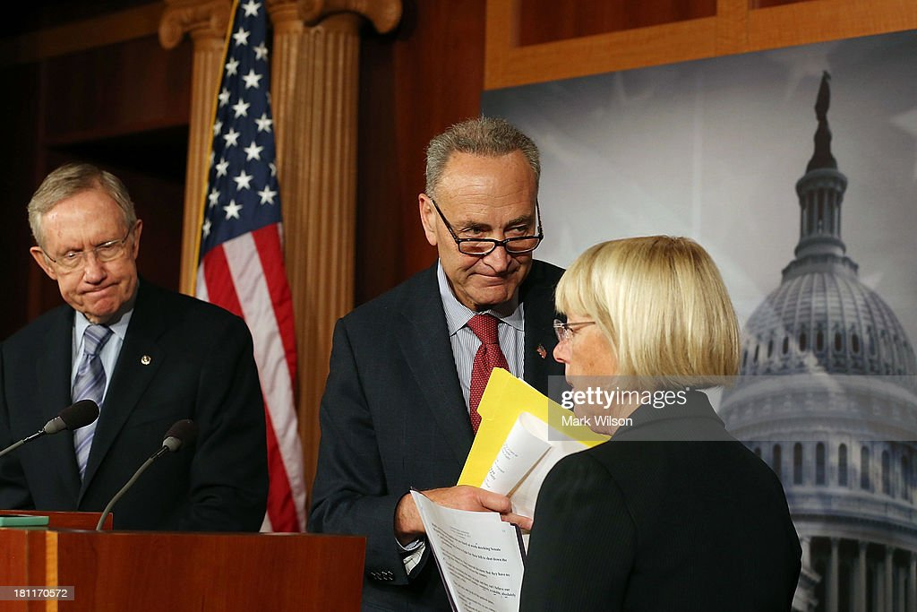 Senate Majority Leader Harry Reid (D-NV), Sen. Chuck Schumer (D-NY) and Sen. Patty Murray (D-WA) speak to the media during a news conference on Capitol Hill, September 19, 2013 in Washington, DC. Leader Reid spoke about the continuing resolution and Republican efforts to defund Obamacare.