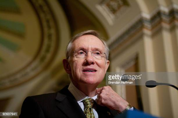 Senate Majority Leader Harry Reid speaks at a news conference on Capitol Hill on November 3 2009 in Washington DC Reid discussed efforts to pass...