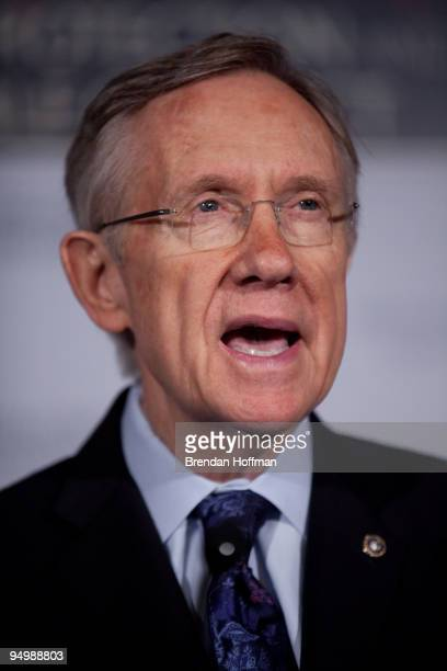 Senate Majority Leader Harry Reid speaks at a news conference on health insurance reform legislation on December 21 2009 in Washington DC The...