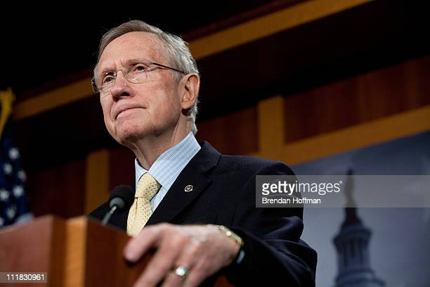 Senate Majority Leader Harry Reid speaks at a news conference with other senior Democratic Senators on efforts to reach an agreement on the federal...