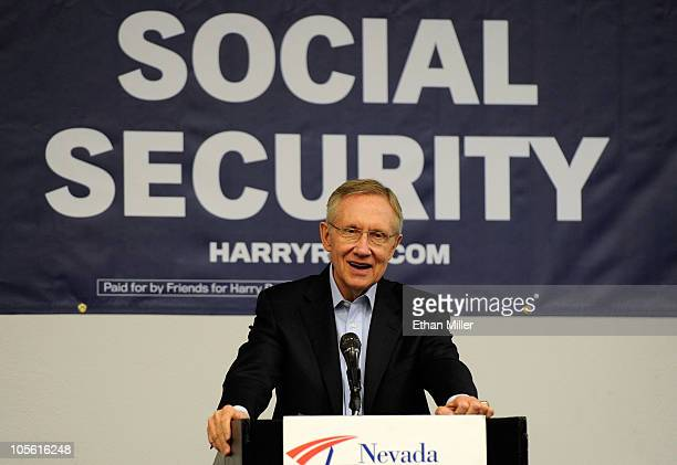 S Senate Majority Leader Harry Reid speaks at an early voting campaign rally with the Nevada Alliance of Retired Americans at the International Union...