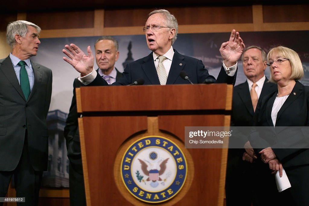 Senate Majority Leader Harry Reid (D-NV) (C) speaks during a news conference to announce they will fast-track new legislation to prevent for-profit employers from refusing to cover health benefits for religious reasons with (L-R) Sen. Mark Udall (D-CO), Sen. Charles Schumer (D-NY), Senate Majority Whip Richard Durbin (D-IL) and Sen. Patty Murray (D-WA) at the U.S. Capitol July 10, 2014 in Washington, DC. Co-authored by Udall and Murray, the legislation would override the Supreme Court's recent decision in the Hobby Lobby case and compel for-profit business to cover contraception for their employees, as required by the Affordable Care Act.