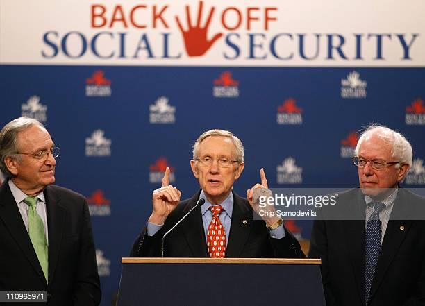 Senate Majority Leader Harry Reid speaks during a rally in support of Social Security with Sen Tom Harkin and Sen Bernie Sanders in the Dirksen...