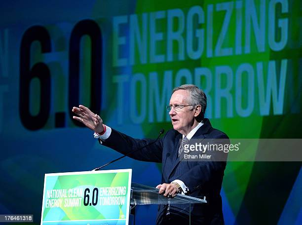 S Senate Majority Leader Harry Reid speaks during the National Clean Energy Summit 60 at the Mandalay Bay Convention Center on August 13 2013 in Las...
