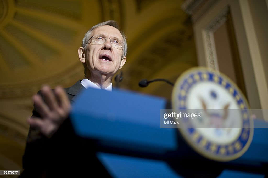 Senate Majority Leader Harry Reid speaks to reporters following the Senate Democrats' policy lunch on Tuesday, Nov. 17, 2009.