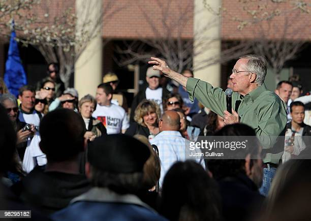 S Senate Majority Leader Harry Reid speaks to supporters during a rally at University of NevadaReno April 6 2010 in Reno Nevada Sen Reid continues...
