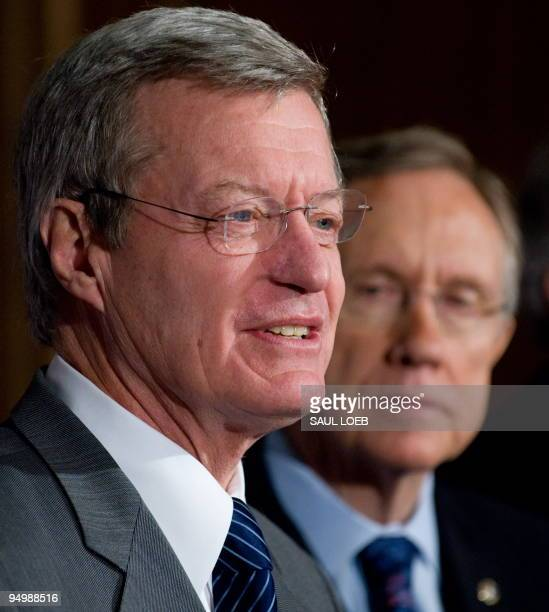 Senate Majority Leader Harry Reid stands alongside Montana Democrat Senator Max Baucus during a press conference announcing the American Medical...