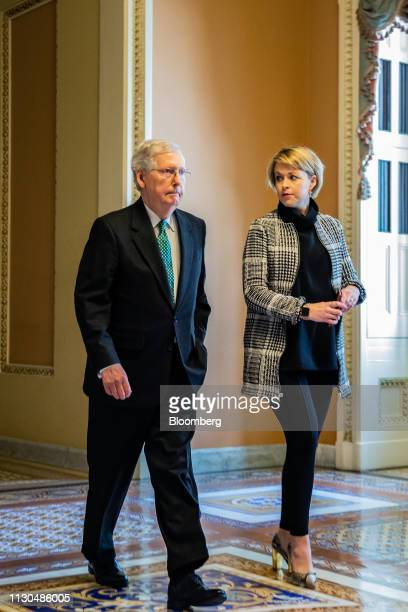 Senate Majority Leader Mitch McConnell a Republican from Kentucky arrives for a vote on the national emergency declaration in Washington DC US on...