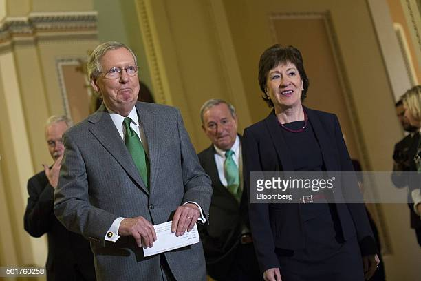 Senate Majority Leader Mitch McConnell, a Republican from Kentucky, left, and Senator Susan Collins, a Republican from Maine, right, arrive for a...