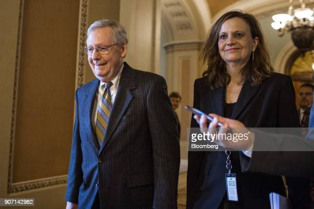 Senate Majority Leader Mitch McConnell a Republican from Kentucky leaves the Senate Floor at the US Capitol in in Washington DC US on Friday Jan 19...