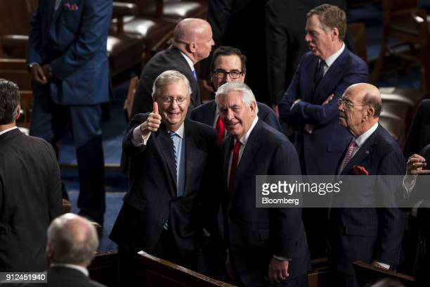 Senate Majority Leader Mitch McConnell a Republican from Kentucky from left and Rex Tillerson US Secretary of State Wilbur Ross US commerce secretary...