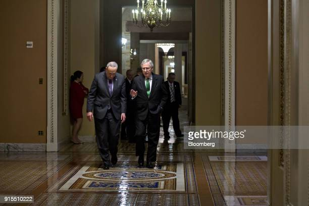 Senate Majority Leader Mitch McConnell a Republican from Kentucky right talks to Senate Minority Leader Chuck Schumer a Democrat from New York while...