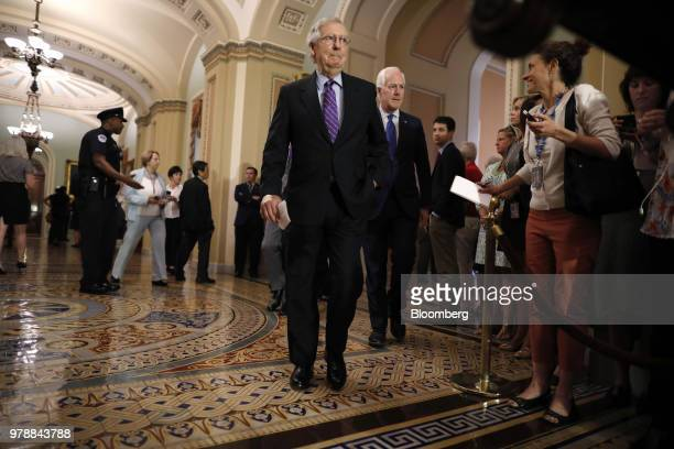Senate Majority Leader Mitch McConnell a Republican from Kentucky center arrives for a news conference following a Senate weekly luncheon meeting at...
