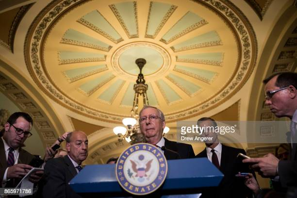 Senate Majority Leader Mitch McConnell addresses reporters following a lunch with Senate Republicans and President Donald Trump on Capitol Hill...