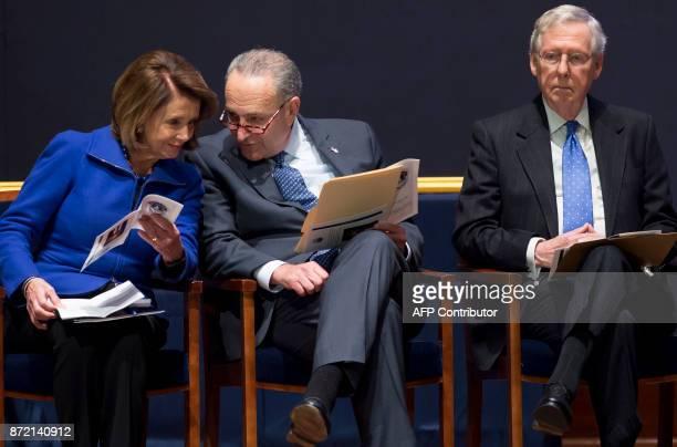 US Senate Majority Leader Mitch McConnell alongside US Senate Minority Leader Chuck Schumer and House Democratic Leader Nancy Pelosi attend a...