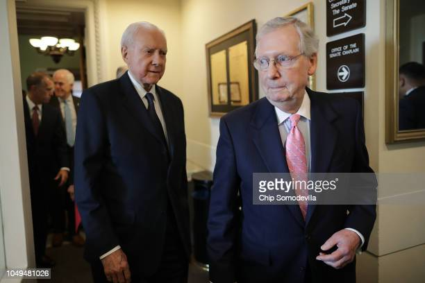 Senate Majority Leader Mitch McConnell and Republican members of the Senate Judiciary Committee including Sen Orrin Hatch arrive for a news...