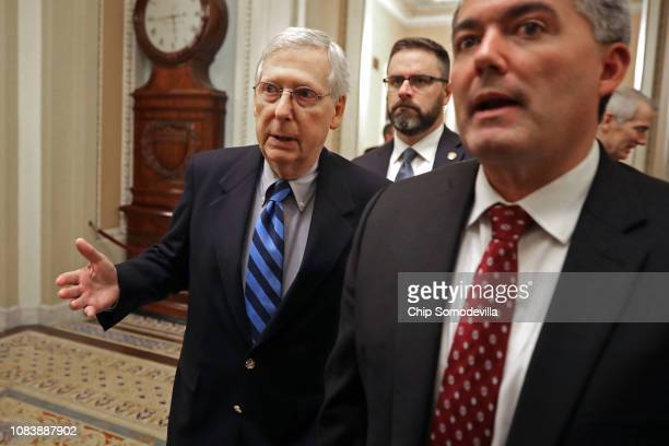 Senate Majority Leader Mitch McConnell and Sen Cory Gardner head to the floor to vote to begin debate on a bipartisan criminal reform bill called the...