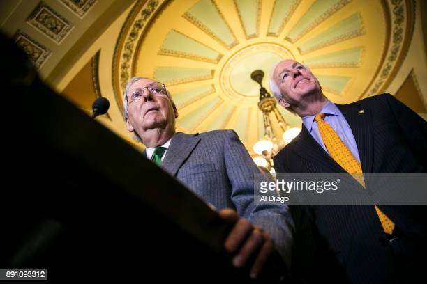 Senate Majority Leader Mitch McConnell and Sen John Cornyn speak to reporters about the Alabama Senate race during a news conference on Capitol Hill...