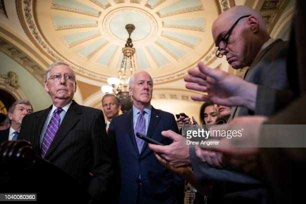 Senate Majority Leader Mitch McConnell and Senate Majority Whip John Cornyn address reporters following their weekly policy luncheon on Capitol Hill...