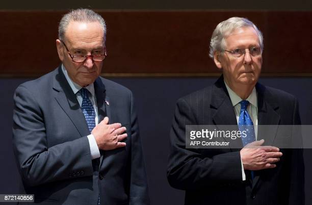 US Senate Majority Leader Mitch McConnell and US Senate Minority Leader Chuck Schumer attend a ceremony honoring first responders with the US Capitol...