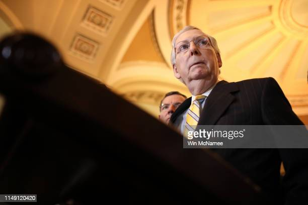 Senate Majority Leader Mitch McConnell answers questions during a press conference at the U.S. Capitol May 14, 2019 in Washington, DC. McConnell...