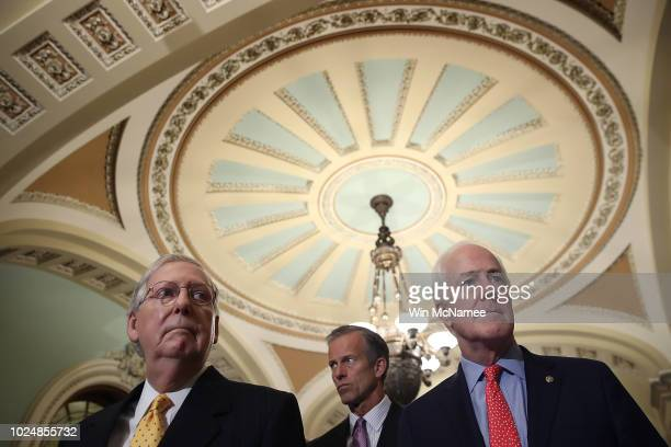 Senate Majority Leader Mitch McConnell answers questions following the weekly Republican policy luncheon at the US Capitol on August 28 2018 in...